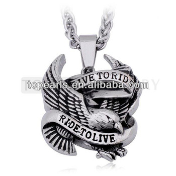 Topearl Jewelry 3pcs/LOT Live to Ride Ride to Live Eagle Pendant 316 Stainless Steel MEP712