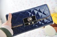 Free shipping  2012 female small bag plaid design day clutch vintage genuine leather handbags  women's chain  handbag