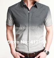 yc-670 Brand KUEGOU 2014 Fashion Plus size gradient small plaid high quality 100% cotton mens casual short-sleeve shirt