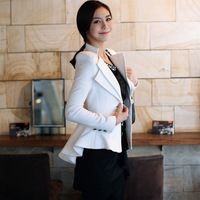 Double Collar Vintage Elegance Woman Tuxedo Style Slimly White And Black Lady Jacket Fashion Female Tuxedo Coat Free Shipping