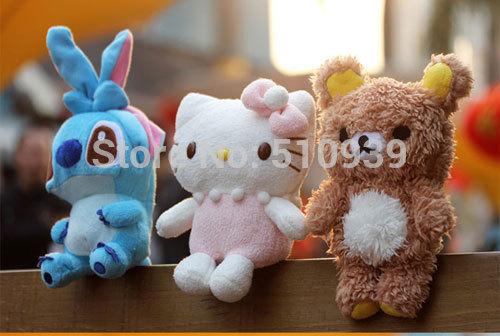 10pcs 3D Cartoon Rilakkuma Bear/Lilo&Stitch Hello kitty Idoll case Cover for iphone5 5s 4 4s Plush idoll cell phone cases(China (Mainland))