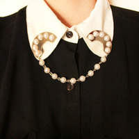 Fashion simulated pearl moon shaped collar brooches Free shipping Min.order $10 mix order+gift  DT116
