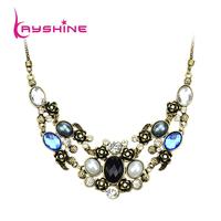 Cristmas Gift Fashion Jewelry Luxury Unique Graceful blue Rhinestone Choker Necklace For bijoux Women