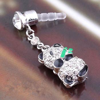 Wholesale Mobile Phone Accessories!Lot!White Panda Crystal ,Rhinestone Alloy Fashion Phone Diamond Crystal Dust Plug