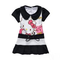 Free shipping 5 pcs/lot Wholelsale baby girls clothing summer wear hello kitty black dress Children cotton fashion dresses