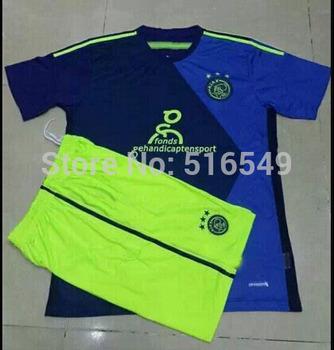 2014/2015 newest AJAX away green  soccer jerseys, football uniform shirt+short  2015 AJAX,football wear  embroidered logo