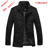 (Factory direct sales)mens Jackets men clothing Turn-down Collar  Black and khaki(M/L/XL/XXL)(Z0016)