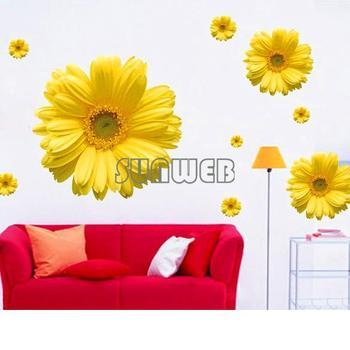 Decorative Combination home DIY Wall Sticker Chrysanthemum Yellow Daisy Art Decor Home Bedroom free shipping 4681