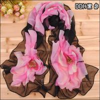 Min order $15 Free Shipping!New Women's Fashion flower printed Design chiffon georgette silk scarf/ shawl!