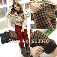 Double Layers Checked Patterns Leggings for women winter trousers pants, FREE SHIPPING