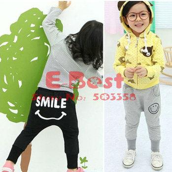 [E-Best] 5pcs/lot Baby Boy/Girl Haren pants,SMILE print pants,Children cute long pants ,Cotton trousers E-PTW-005