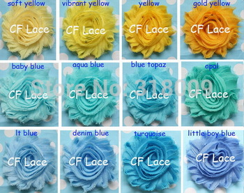 "DHL/EMS Free Shipping 70y/lot 40 colors 2.5"" frayed chiffon shabby flower,shabby rose flower ,hair accessories,"