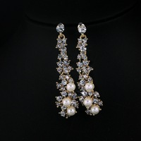 Min. order is $10 2013 new fashion rhinestone crystal pearl women jewelry wholesale earrings for women gold plated free shipping