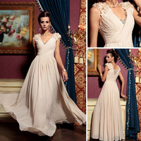 DORISQUEEN 2014 new free Shipping V-neck applique sleeve pink Rhinestone evening dresses long