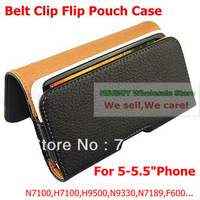 Flip Leather Case with Belt Clip For H9500 N7189 N9330 S4 X920F... 5 inch 5.5 inch phone Universal Free shipping