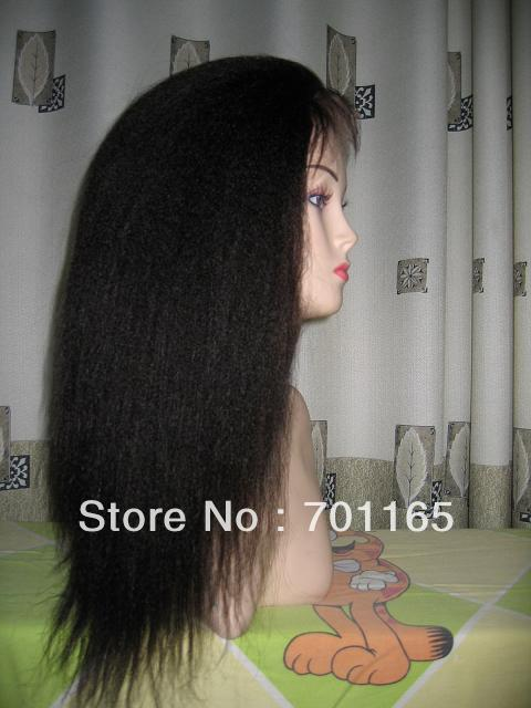 Guaranteed 100% Indian Remy Hair 10-24inch Inch Natural Color Kinky Straight Large Cap Stock Full Lace Wig(China (Mainland))