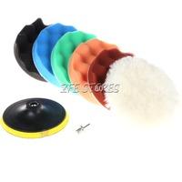 "6Pcs 6"" M14 Thread Polishing Buffer Pad Set and M14 Drill Adapter For Car polisher"