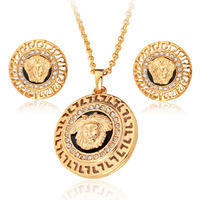 FREE SHIPPING Vintage Lion Head Necklace Earrings Set 18K Real Gold Plated Crystal Jewelry Set Christmas Gift For Women 7V S643