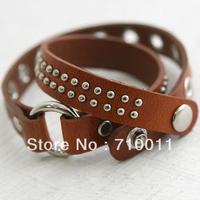 Free Shipping-Wholesale Fashion Accessories Ladies' Elegant Leather Multi-layer Irregular Rivet Bracelet ,24pcs/lot