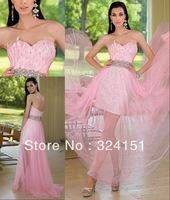 2013 Hot New Style A Line Cheap Sweetheart Beading Pink Chiffon Ankle  Length Feather  Evening Gown Prom Party  Dresses