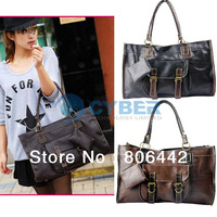 Fashion Women's Handbags Retro Stitching Lady' shoulder Tote Bag Leather With Zero Purse
