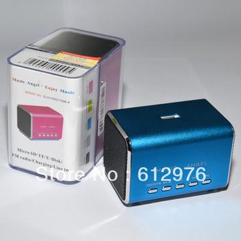 original Music Angel Portable mini speaker for iphone ipad HTC SAMSUNG with FM radio support USB drive/TFcard, MD05B (10 pcs)