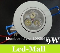 2013 The Hottest Selling 9W 3X3W Led Spot Down Lights White Shell Ultra Bright 600 LM Cool/Warm White Led Downlight 85-265V