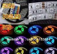 LED flexible Flash Light Strip 5050 RGB  Waterproof SMD 300LED 5m/roll IR Remote DHL free