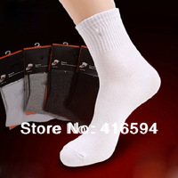 10pcs=5pairs= lot cotton socks Half tube socks men cotton men's socks sport stocking quality black white gray drop shipping