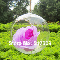 Hanging Glass Vase/ Candle Holder, Dia12cm * H14cm, Round Bottom, 1 Big holes,  Free Shipping, Hanging Terrarium / Wedding Decor