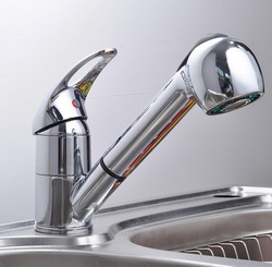 Fashion Polished Chrome Finished Pull Out Spout bathroom basin Kitchen Sink Mixer Tap Faucet AD-1229(China (Mainland))