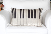 free shipping Simple Elegant Piano Keys pattern Cotton Linen Home decorative oblong cushion cover throw pillow case