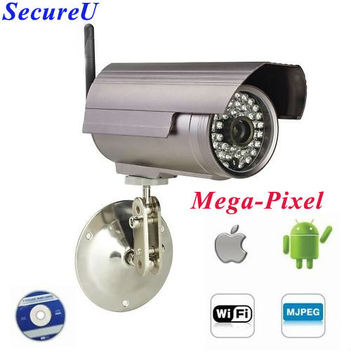 Free shipping H.264 1mega-pixel HD IR Wireless IP WIFI CCTV security surveillance video waterproof bullet camera system install(China (Mainland))
