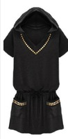 Free shipping for large size women punk gold rivet  dress with hat  size S M L XL XXL XXXL 4XL peplum black dresses