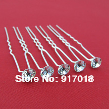 Wholesale 20pcs Clear 6mm Crystal Wedding Bridal Party Hair Pin Hair Jewelry