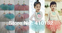 Free shipping new Autumn Dresses Spring dresses O-Neck Floral Tops + lace cake skirts children's sets beautiful sets girls set