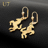 Unique Horse Shaped Earrings Fashion 18K Real Gold Plated Lovely Drop Earrings Jewelry For Women Free Shipping Wholesale E2008