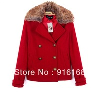 2012 FREE SHIPPING new design western fashion double-breasted overcoat  for women elegant and warm women's wool coat
