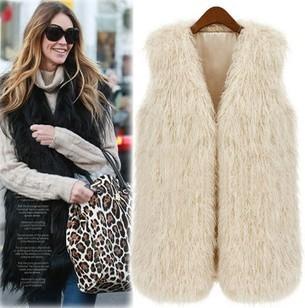 Faux Fur Vest Warm Tassel Long Jackets Women Coats Tank Sleeveless V-neck Chic Tops Casual Outwear Ladies' Leisure Fur Waistcoat