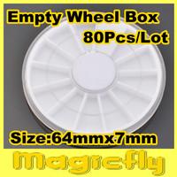 [BZ-004]80 x White Plastic Empty Wheel Box Case For Nail Art Gems Rhinestones Storage Case + Free Shipping