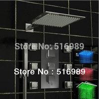 "12"" LED Shower Head Thermostatic 6 Massage Jets Spray Body valve Set Faucet ST01"