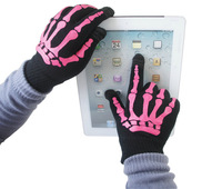 100pairs/lot Screen touch gloves skeleton-style Unisex Winter for Iphone touch glove 2 colors