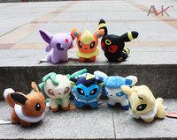"""8pcs/set Pokemon Umbreon Eevee Espeon Jolteon Vaporeon Flareon Glaceon Leafeon 13cm Plush Toys 5"""" Soft Stuffed animals"""