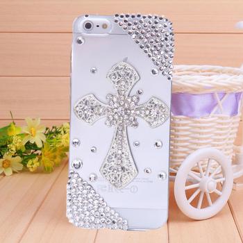 1PC free shipping diamond cross rhinestone case  for iphone 4 case for iPhone 4s  case bling  cell phone protection shell