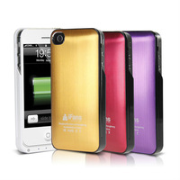 Free shipping! wholesale New backup 1450mAh  battery leather&cover case for iphone 4/4s