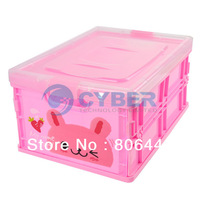 Pink Cute Collapsible Folding Plastic Storage Box SizeL Free Shipping Dropshipping 9207