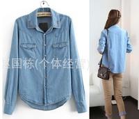 Top quality  Trendy Rivet Jeans Blue Denim Shirt Long-sleeve Women's 4 Size Outerwear Blouse