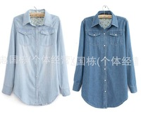Free shipping 2012 Top Quality Pearl button Jeans Denim Shirt Long-sleeve Women's Plus Size Outerwear Blouse 6 Size 2 Color