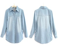 2012  top quality Pearl button flower Jeans Denim Shirt Below Pocket Long-sleeve Women's Outerwear Blouse 6 Size
