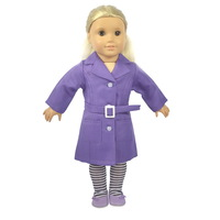 """Doll Clothes Fits 18"""" American Girl Dolls,Doll Outfit, Purple Dustcoat +Belt + Socks,3pcs,Girl Birthday Present, Xmas Gift,  A05"""